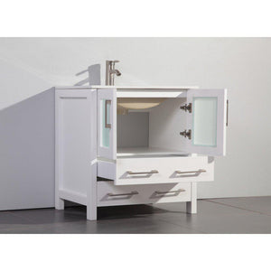 "Vanity Art 30"" Single Sink Vanity Cabinet with Ceramic Sink & Mirror - White, VA3030W test"