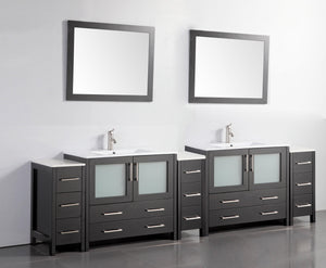 "Vanity Art 108"" Double Sink Vanity Cabinet with Ceramic Sink & Mirror - Espresso, VA3036-108E"