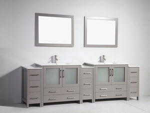 "Vanity Art 108"" Double Sink Vanity Cabinet with Ceramic Sink & Mirror - Grey, VA3036-108G"