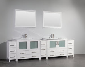 "Vanity Art 108"" Double Sink Vanity Cabinet with Ceramic Sink & Mirror - White, VA3036-108W"