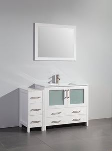"Vanity Art 48"" Single Sink Vanity Cabinet (Wide) with Ceramic Sink & Mirror - White, VA3036-48W test"