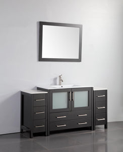 "Vanity Art 60"" Single Sink Vanity Cabinet (Wide) with Ceramic Sink & Mirror - Espresso, VA3036-60E test"