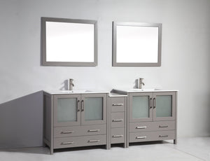 "Vanity Art 84"" Single Sink Vanity Cabinet (Wide) with Ceramic Sink & Mirror - Grey, VA3036-84G test"