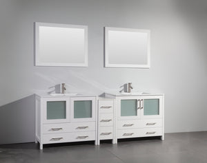 "Vanity Art 84"" Single Sink Vanity Cabinet (Wide) with Ceramic Sink & Mirror - White, VA3036-84W test"