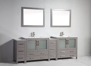 "Vanity Art 96"" Single Sink Vanity Cabinet (Wide) with Ceramic Sink & Mirror - Grey, VA3036-96G test"