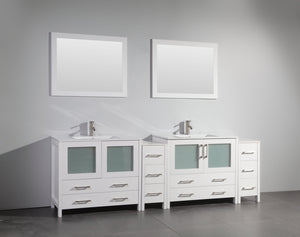 "Vanity Art 96"" Single Sink Vanity Cabinet (Wide) with Ceramic Sink & Mirror - White, VA3036-96W test"