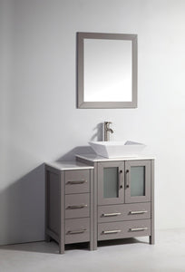 Ravenna 36 in. W x 18.5 in. D x 36 in. H Bathroom Vanity in Grey with Single Basin Top in White Ceramic and Mirror test