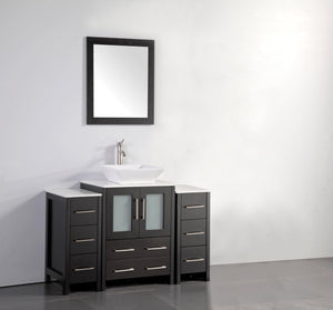 48 in. W x 18.5 in. D x 36 in. H Bathroom Vanity in Espresso with Single Basin Vanity Top in White Ceramic and Mirror test