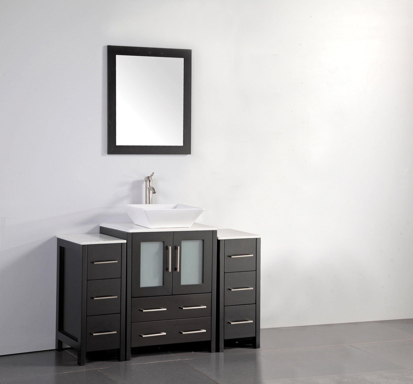 48 in. W x 18.5 in. D x 36 in. H Bathroom Vanity in Espresso with Single Basin Vanity Top in White Ceramic and Mirror