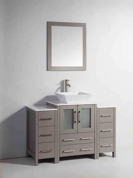 48 in. W x 18.5 in. D x 36 in. H Bathroom Vanity in Grey with Single Basin Vanity Top in White Ceramic and Mirror