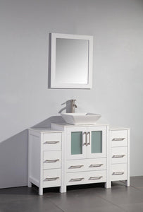 48 in. W x 18.5 in. D x 36 in. H Bathroom Vanity in White with Single Basin Vanity Top in White Ceramic and Mirror