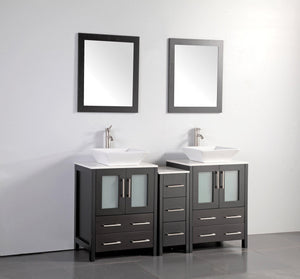 "Vanity Art 60"" Double Sink Vanity Cabinet with Ceramic Vessel Sink & Mirror - Espresso, VA3124-60E test"