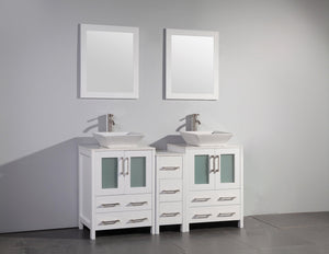 "Vanity Art 60"" Double Sink Vanity Cabinet with Ceramic Vessel Sink & Mirror - White, VA3124-60W test"