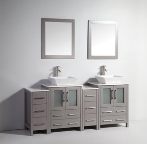 Ravenna 72 in. W x 18.5 in. D x 36 in. H Bathroom Vanity in Grey with Double Basin Top in White Ceramic and Mirrors test