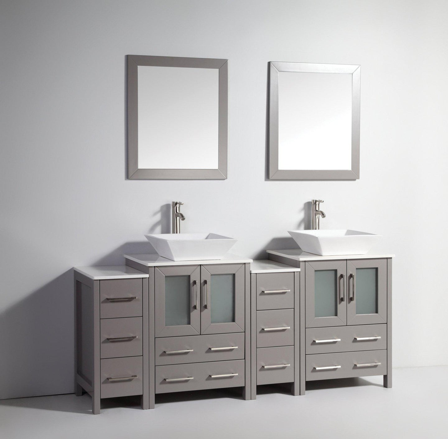 Ravenna 72 in. W x 18.5 in. D x 36 in. H Bathroom Vanity in Grey with Double Basin Top in White Ceramic and Mirrors