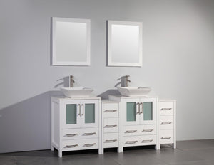 Ravenna 72 in. W x 18.5 in. D x 36 in. H Bathroom Vanity in White with Double Basin Top in White Ceramic and Mirrors test