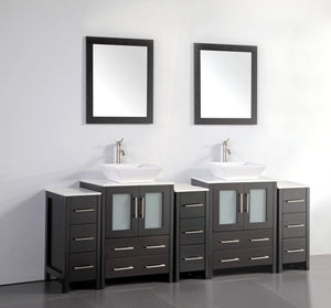 Ravenna 84 in. W x 18.5 in. D x 36 in. H Bathroom Vanity in Espresso with Double Basin Top in White Ceramic and Mirrors test