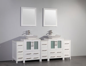 Ravenna 84 in. W x 18.5 in. D x 36 in. H Bathroom Vanity in White with Double Basin Top in White Ceramic and Mirrors test