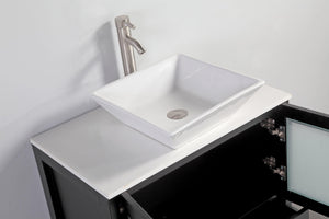 Ravenna 24 in. W x 18.5 in. D x 36 in. H Bathroom Vanity in Espresso with Single Basin Top in White Ceramic and Mirror test