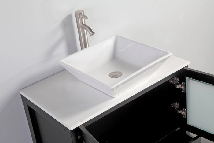 Ravenna 24 in. W x 18.5 in. D x 36 in. H Bathroom Vanity in Espresso with Single Basin Top in White Ceramic and Mirror