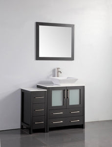"Vanity Art 42"" Single Sink Vanity Cabinet with Ceramic Vessel Sink & Mirror - Espresso, VA3130-42E"