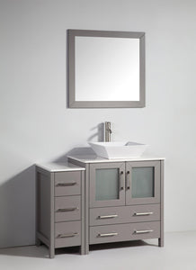 "Vanity Art 42"" Single Sink Vanity Cabinet with Ceramic Vessel Sink & Mirror - Grey, VA3130-42G"