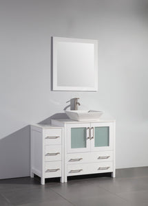 "Vanity Art 42"" Single Sink Vanity Cabinet with Ceramic Vessel Sink & Mirror - White, VA3130-42W"