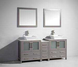 "Vanity Art 72"" Double Sink Vanity Cabinet with Ceramic Vessel Sink & Mirror (Single Cabinet) - Grey, VA3130-72G test"