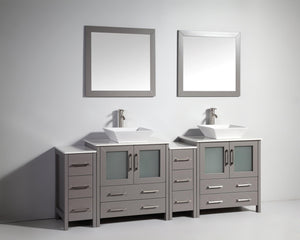 "Vanity Art 84"" Double Sink Vanity Cabinet with Ceramic Vessel Sink & Mirror (Double Cabinet) - Grey, VA3130-84G test"