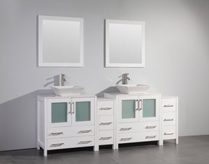 "84"" Double Sink Vanity Cabinet with Ceramic Vessel Sink & Mirror (Double Cabinet) - White test"