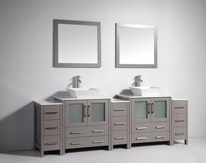 "Vanity Art 96"" Double Sink Vanity Cabinet with Ceramic Vessel Sink & Mirror - Grey, VA3130-96G test"