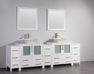 "Vanity Art 96"" Double Sink Vanity Cabinet with Ceramic Vessel Sink & Mirror - White, VA3130-96W test"