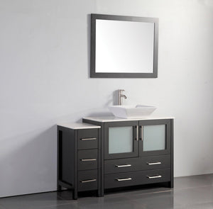 "Vanity Art 48"" Single Sink Vanity Cabinet (Wide) with Ceramic Vessel Sink & Mirror - Espresso, VA3136-48E test"