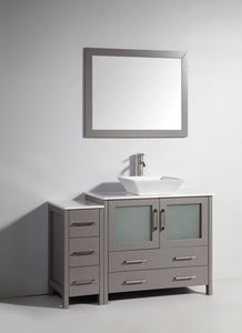 "Vanity Art 48"" Single Sink Vanity Cabinet (Wide) with Ceramic Vessel Sink & Mirror - Grey, VA3136-48G test"