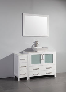 "Vanity Art 48"" Single Sink Vanity Cabinet (Wide) with Ceramic Vessel Sink & Mirror - White, VA3136-48W test"