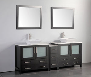 "Vanity Art 84"" Double Sink Vanity Cabinet (Wide) with Ceramic Vessel Sink & Mirror - Espresso, VA3136-84E"