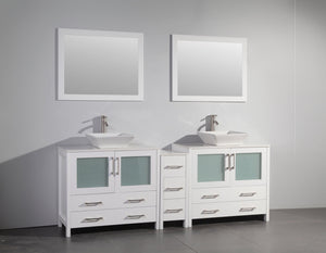 "Vanity Art 84"" Double Sink Vanity Cabinet (Wide) with Ceramic Vessel Sink & Mirror - White, VA3136-84W"