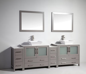 "Vanity Art 96"" Double Sink Vanity Cabinet (Wide) with Ceramic Vessel Sink & Mirror - Grey, VA3136-96G test"