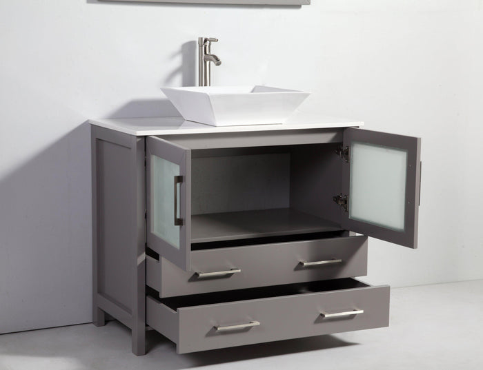 "Vanity Art 36"" Single Sink Vanity Cabinet (Wide) with Ceramic Vessel Sink & Mirror - Grey, VA3136G"