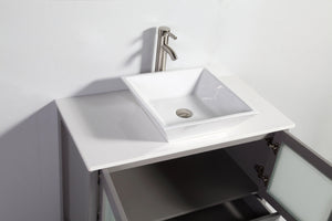 "Vanity Art 36"" Single Sink Vanity Cabinet (Wide) with Ceramic Vessel Sink & Mirror - Grey, VA3136G test"