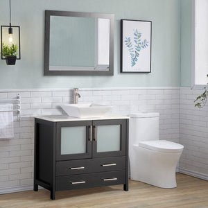 "Vanity Art 36"" Single Sink Vanity Cabinet (Wide) with Ceramic Vessel Sink & Mirror - Espresso, VA3136E test"