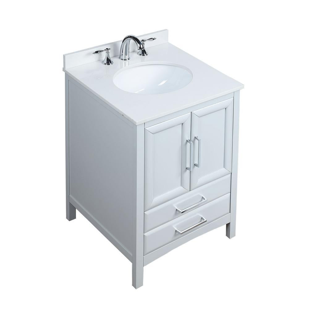 Rochefort 24 in. W x 22 in. D x 35 in. H Bath Vanity in Grey with Vanity Top in White Cultured Marble with White Basin