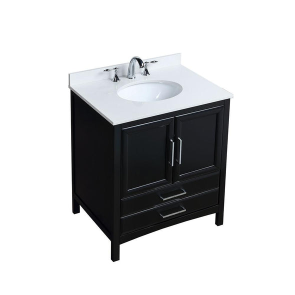 30 in. W x 22 in. D x 35 in. H Bath Vanity in Espresso with Vanity Top in White Cultured Marble with White Basin