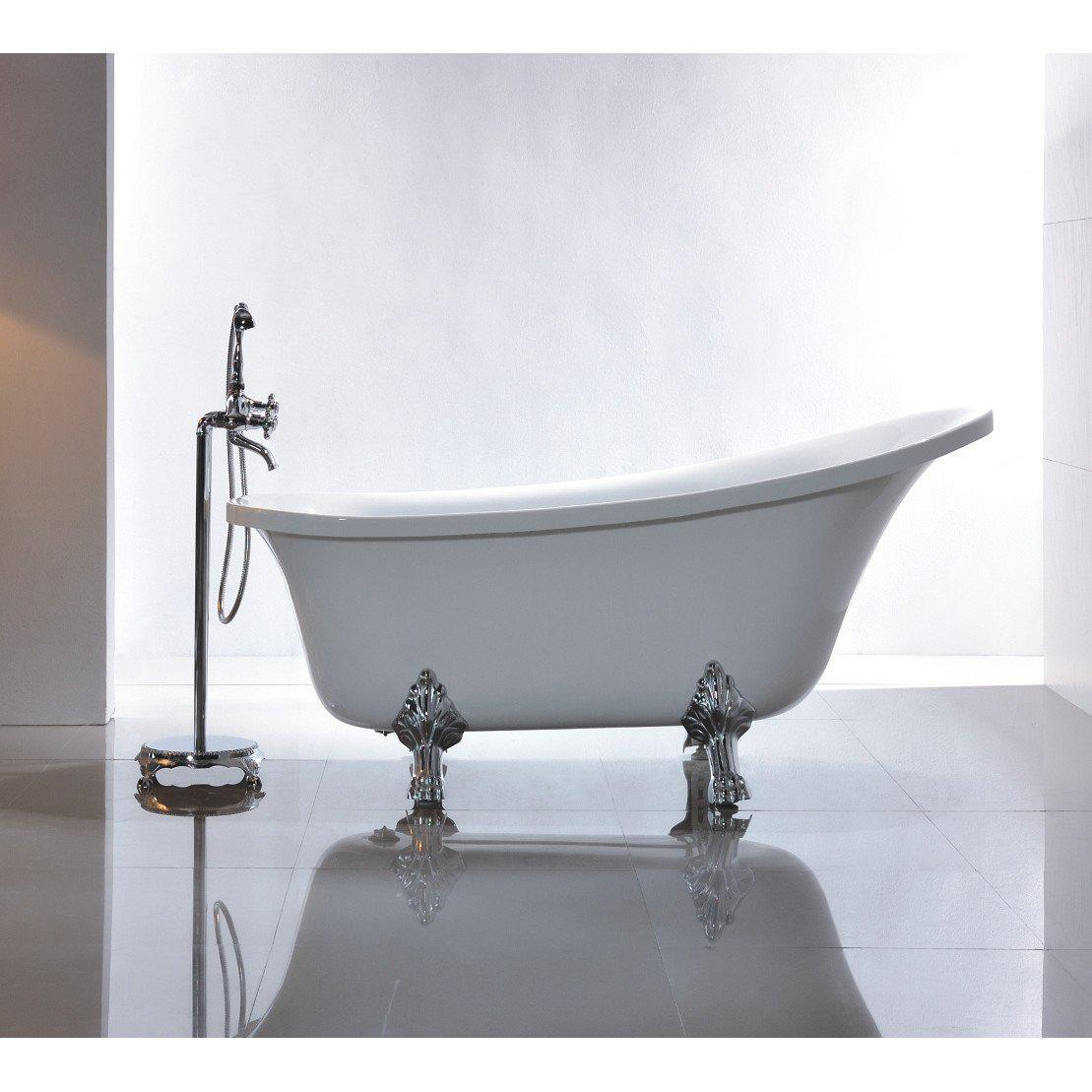 Vanity Art Freestanding White Acrylic 69-Inch Claw Foot Soaking Bathtub
