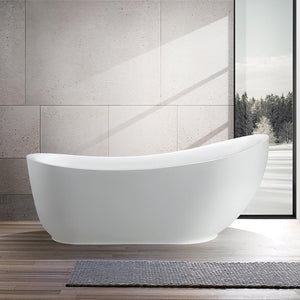 Vanity Art Belfort 71 in. Acrylic Flatbottom Freestanding Bathtub in White, VA6512-L