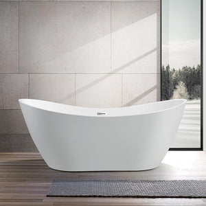 Vanity Art Mulhouse 71 in. Acrylic Flatbottom Freestanding Bathtub in White, VA6517