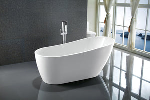 Vanity Art Colombes 67 in. Acrylic Flatbottom Freestanding Bathtub in White, VA6522 test