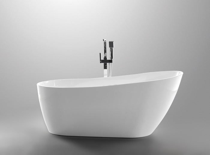 Vanity Art Colombes 67 in. Acrylic Flatbottom Freestanding Bathtub in White, VA6522