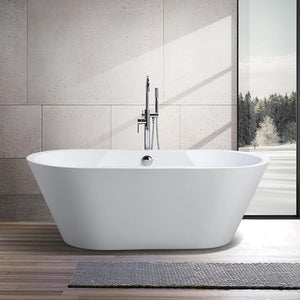 Vanity Art Beziers 67 in. Acrylic Flatbottom Freestanding Bathtub in White, VA6804