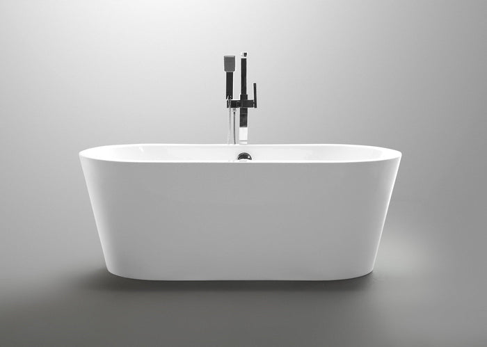Lorient 67 in. Acrylic Flatbottom Freestanding Bathtub in White